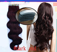 Wholesale tape in hair extensions remy pieces brown brazilian body wave pu taped skin weft hair extension human hair dark red