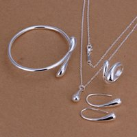 Wholesale Silver Sterling Jewellry Necklace - Wedding Jewelry Set 925 Stering Silver Jewellry Sets For Party Proms Water Drop Bangles Bracelets Pendant Necklace Rings Earrings For women