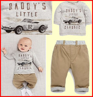 Wholesale Child Car Neck - 10Set Fedex UPS Ship 2016 New Spring Boys Long Sleeve Car T Shirt & Baby Long Trousers 2Pc Set Children Set Kids Suit Outfits For 2-6T years
