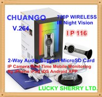 Wholesale Iphone Network Monitor - NEW !!! CHUANGO IP116 HD 720P H.264 WiFi Camera IR Night Vision Network IP Camera P2P 2-Way Audio for iPhone iOS Android Mobile Monitor