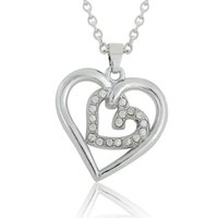 Wholesale Double Heart Crystal Necklace Pendant - Fashion Double Heart White Shinny Crystal Pendant Necklaces Link Chain Women DIY Jewelry Rhodium Plated 30pcs lot