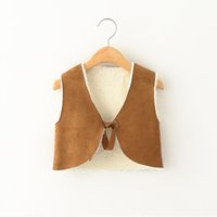 Everweekend Girls Bow V-образным вырезом кардигана Cute Baby Brown Color Jacket Lovely Kids Suede Leather Fall Coat