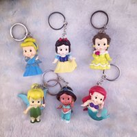 Wholesale Tinkerbell Toy Doll - High Quality PVC Princess Keychain Tinkerbell doll toy 6 pcs Collection Figure Key Chain tinkerbell key chain DIY necklaces free shipping