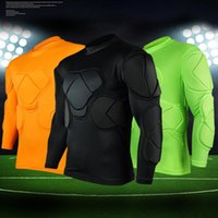 Wholesale Football Gear Men - Wholesale-New sports safety protection thicken gear Rugby soccer goalkeeper jerseys knee pads outdoor tops elbow football padded protector