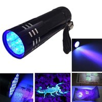 Wholesale Mini Led Flashlight Aluminum - New Arrival Mini Aluminum Portable UV Ultra Violet Blacklight 9 LED Flashlight UV Flashlight Torch Light Lamp Flashlight Camping Torches