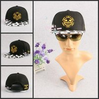 Gros-Hot Anime One Piece Trafalgar Law Pirates de coeur unisexe hip-pop Snapback Hat BBOY réglable Casquette de baseball Accessoires Cosplay