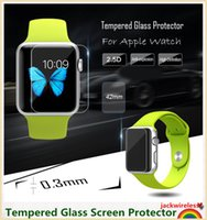 Wholesale Thin Film Wholesale - Toughened Glass Film High Definition Ultra Thin Tempered Glass Screen Protector Anti-shatter for i Watch Apple Watch 38mm 42mm no Retail box