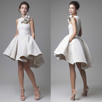 Wholesale Krikor Jabotian Short Wedding Gown - 2016 Lace Wedding Dress Krikor Jabotian Jewel Sleeveless High Low Wedding Dresses Short A-Line Beach Bridal Gowns With Flower