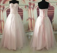 Wholesale Tops Pearl Necklines - Light Pink Pearl Pink Beaded Crystals Fashion Top Quality Ball Gown Quinceanera Dresses Sweetheart Neckline Party Prom Dresses