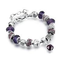 ingrosso perline di scorrimento per braccialetto-11 colori moda 925 sterling silver margherite vetro murano cristallo europeo perline fascino adatto braccialetti di fascino bracciali stile 20 + 3 cm aa02