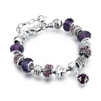 Wholesale red amethyst - 11 Colors Fashion 925 Sterling Silver Daisies Murano Glass&Crystal European Charm Beads Fits Charm bracelets Style Bracelets 20+3CM AA02