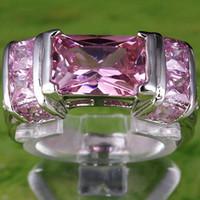 изумрудные кольца оптовых-Свободный Корабль A0097-10 Изумрудный Cut Розовый Белый Сапфир Драгоценные Камни 18 К Белое Позолоченное Кольцо Размер 10