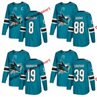 Wholesale C 19 - 2018 AD San Jose Sharks Hockey Jerseys 88 Brent Burns 8 Joe Pavelski 19 Joe Thornton 39 Logan Couture Tomas Hertl Teal Green Jersey C Patch