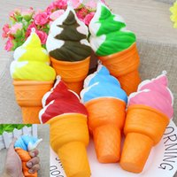 Wholesale 3d charms - 3D Cute Jumbo Rare Squishy Charm Ice Cream Phone Straps keychain Squishy Slow Rising Squeeze Squishies Toys For Kids Toy Christmas gift