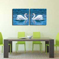 Wholesale Two Swans Painting - Swan Wall Decor, Two Pieces White Swans Lake Art Work Canvas Prints Painting Wall Decor for Living Room Bedroom Wall De