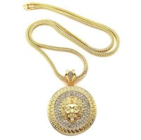 Wholesale Hip Hop Pendant Brand - Hot Sale Brand New Iced Out Bling Medusa Pendants with Franco Chain Hip Hop Necklace Free Shipping