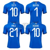 itália kit jersey venda por atacado-2018 Copa Do Mundo Itália Início Adultos Camisa Futbol Totti Pirlo Insigne Del Piero Camisas De Futebol Italia Futebol Camiseta Shirt Kit Maillot