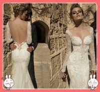 Wholesale Dress Double Shoulder Train - Emmani 2015 Winter Mermaid Wedding Dresses with Lace Applique Double Shoulder Sweetheart Corset Backless Lace Sleeves Bridal Wedding Dresses