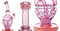 Wholesale Egg Ball - Pink Fab Egg Ball Thick Glass Bongs Recycler Dab Rigs Water Pipes 2 Function Glass Bong Smoking Pipe Hookahs 14 mm Joint Cheap