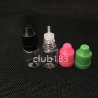 frascos cuentagotas de plástico 5ml al por mayor-5 ml Botellas de gotero PET de plástico para el ojo con puntas largas y delgadas y tapas a prueba de niños Venta al por mayor E-jugo gotero botella de aguja gotero 5 ml