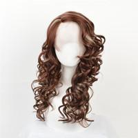 dantel peruk renkleri toptan satış-Dantel ön peruk Afro-Amerikan moda peruk Moda saç peruk dantel ön peruk Koyu kahverengi Karışık renkler bukleler moda Peruk kabell peruk
