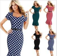 Wholesale Xxl Black Mid Calf Dress - Free shipping The Summer Women dress Sweetheart Neck Short Sleeve Trumpet Work dress with belt size XXL.