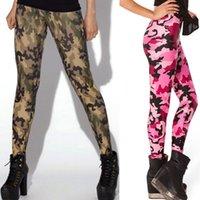 Wholesale Army Pants Girls - Free size Fashion Women's Black milk black colorful army camouflage prints elastic bodybuilding sexy Girl Leggings Pants