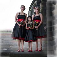 Wholesale draped halter top - Top Selling Satin Halter Bridesmaid Dresses With Sash Sleeveless Backless Elegant Women Girl Clothes Knee Length Formal Bridesmaid Dress
