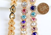 Wholesale Trim For Wedding Cakes - 1 Yard Sparkle Mixed Rhinestones Beads Gold Plated Flatback Ribbon Chain Trim For Sewing Craft Diy