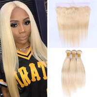 Wholesale Colored Hair Wholesale - Brazilian Blonde Straight Hair Bundles with Lace Frontal Closure Colored 613 Platinum Blonde Human Hair Weaves with 13X4 Full Lace Frontal