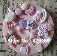 Wholesale Candle Moulds - 1PCS baby shower party fondant molds,silicone mold soap,candle moulds,sugar craft tools,chocolate moulds,bakeware