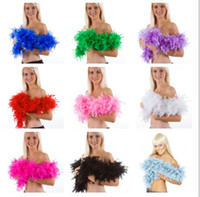 Wholesale Wholesale Ostrich Feathers Boas - 50PCS 40g 2M Wedding Decorations Party Holiday Pub Ostrich Feather Boa Fluffy Flower Costume Plume Centerpiece Dance Performance