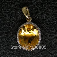 Gros-2015 New Vintage Ovale Solid 14KT Yellow Gold 4.82Ct Diamond Engagement Citrine Pendentif E0003