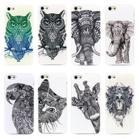 Drawn All'ingrosso-2015 Vtg Style Head Case Azteca Elefante Giraffa Arto superiore animale la copertura di caso di animali di Apple I Phone 4S di iPhone 4/5 5s