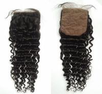 Wholesale Brazilian Invisible - Brazilian deep wave silk base closure,Brazilian virgin hair silk base top closure,100% human hair closure,invisible knots,G-EASY Hair