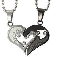 Wholesale Couple Necklace Design - fashion couple necklace & pendant for men and women heart design wedding lover jewelry Christmas Valentine's Day gift