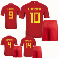 129b6a997 Soccer Short Polyester 2018 World Cup Belgium Soccer Sets LUKAKU FELLAINI  E.HAZARD Courtois DE