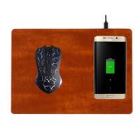 кожаные коврики для мыши оптовых-Беспроводная Зарядка Коврик Для Мыши Qi Стандарт Для IPhone X 8 Samsung S7 Edge Примечание 8 Кожаный Материал Высокого Качества Новое Прибытие