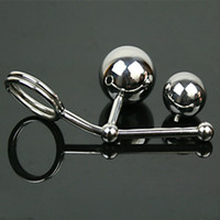 Wholesale Double Ball Steel Anal Hook - Wholesale Stainless Steel Hollow Hook Anal Ball with Cock Ring Men Anal sex Plug Chastity Device Double Balls Styling Tools A12