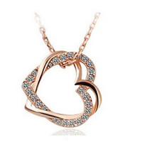 Wholesale Gold Wholesaler Online - Luxury Personalized Necklaces Double Heart Design Necklaces for Women Crystal Decoration Best Pendant Necklaces Online B128