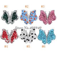 strass en forme de papillon achat en gros de-Snap bijoux 5PCS