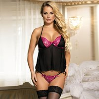 Compra Un Pezzo Di Teddy-Sexy Lingerie <b>Teddy One Piece</b> Lace Babydoll Body per le donne One Piece Halter pizzo Teddy sexy intimates