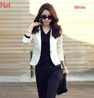 Wholesale Women Office Suits Designs - New Spring Autumn Women Blazers Short Design Turn Down V-Neck Slim Suits Feminino Basic Jacket Coat Cargidans Office Blaser One Button 16129