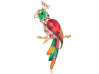 Wholesale Picture Body Jewelry - Fashion Jewelry Brooches Colorful Crystal Rhinestone Ruby Body Painted Tropical Parrot Bird Brooches Pins pin picture