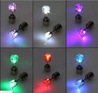 18k geführtes licht großhandel-Neuheit LED Blinklicht Edelstahl Strass Ohrstecker Ohrringe Modeschmuck Rave Spielzeug Geschenk LED Ohrringe für Christma