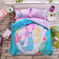 Wholesale- Biancheria da letto Mermaid Sweet Girl Pink Copripiumino Set Tessuto di cotone No Fading Sheet Copriletto matrimoniale Twin Friendly
