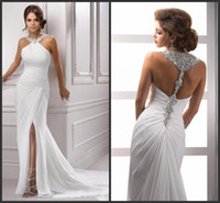 New Sparkling Halter Crystal Beading Evening Dresses Slit Sleeveless Pleat Mermaid White Long Chiffon Formal Prom Party Gown 138