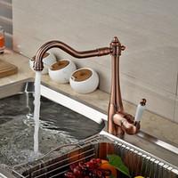 ingrosso vasche da cucina in rame in ottone-All'ingrosso e al minuto di lusso in ottone massiccio Rame rubinetto della cucina girevole beccuccio Vessel lavello miscelatore rubinetto in ceramica maniglia Deck Mounted