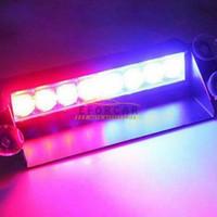 12v carro levou a luz de painel venda por atacado-8 LED Vermelho / Azul Car Strobe Flash Light Traço de Emergência 3 Luz Piscando frete grátis