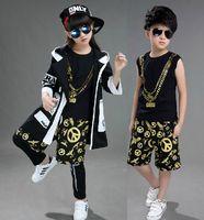Wholesale Hip Hop Clothing For Girls - 2017 Kids Hip Hop Costume Clothes For Boys Girls Children Tank Top Shorts Legging Pant Windbreaker Coat Jazz Dance Clothing Set